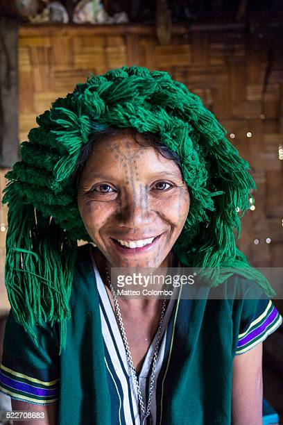 Portrait of Chin woman with facial tattoo, Myanmar