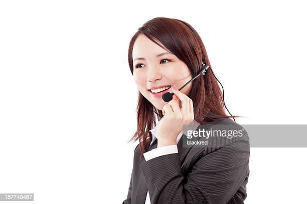 ポートレート中国の顧客サービス担当者に、白色背景