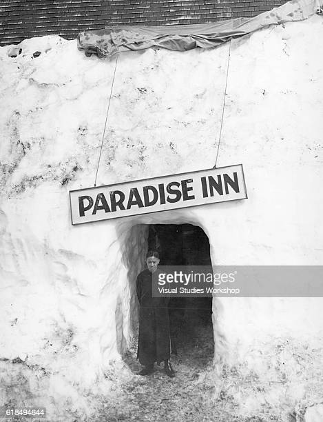 Portrait of Chinese scholar religious leader and railroad executive Dr TZ Koo as he stands in a summer snow tunnel that leads to the Paradise Inn in...