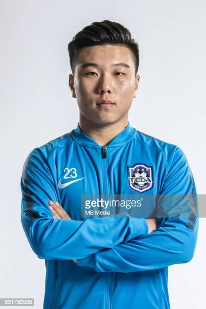 **EXCLUSIVE** Portrait of Chinese soccer player Yang Wanshun of Tianjin TEDA FC for the 2018 Chinese Football Association Super League in Tianjin...