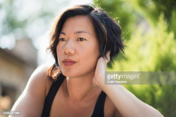 Portrait of Chinese woman outside