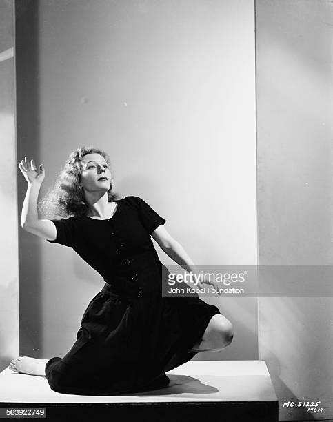 Portrait of choreographer Agnes DeMille dancing niece of famous filmmaker Cecil B DeMille for MGM Studios 1935