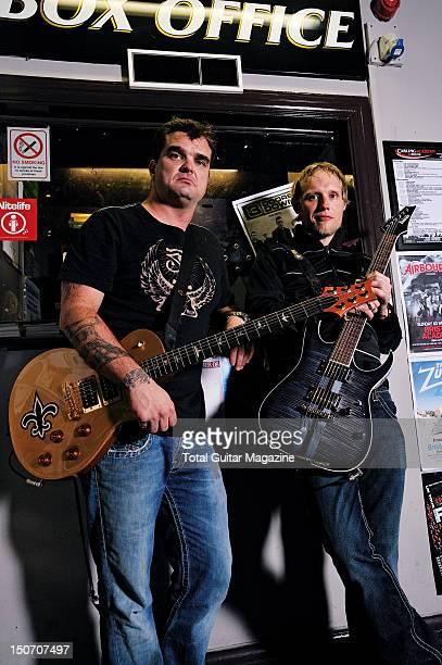 Portrait of Chris Henderson and Matt Roberts guitarists with American rock group 3 Doors Down taken on October 19 2008