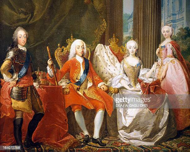Portrait of Christian VI of Denmark King of Denmark and Norway with his family Painting by Carl Marcus Tuscher Detail Copenhagen Rosenborg Slot...