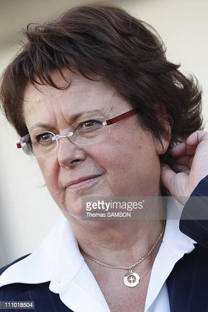 Portrait of Christine Boutin Minister of Housing and Urban Affairs when moving in Corbeil Essonnes France on August 29th 2007