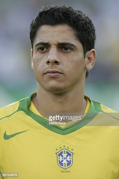 Portrait of Cicinho of Brazil before the match between Mexico and Brazil in the FIFA Confederations Cup 2005 in the AWD Arena on June 19, 2005 in...