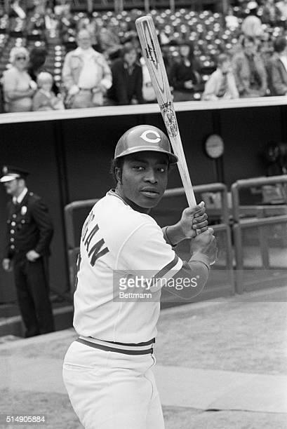 Portrait of Cincinnati Reds' second baseman Joe Morgan, posing in batting stance.
