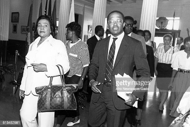 Portrait of Civil Rights leader Coretta Scott King and former Mayor of Baltimore City and President of the University of Baltimore Kurt Schmoke...