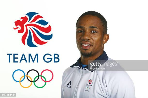 A portrait of CJ Ujah a member of the Great Britain Olympic Athletics team during the Team GB Kitting Out ahead of Rio 2016 Olympic Games on July 13...