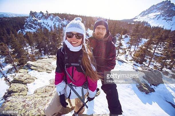 portrait of climbing couple - cliqueimages stock pictures, royalty-free photos & images