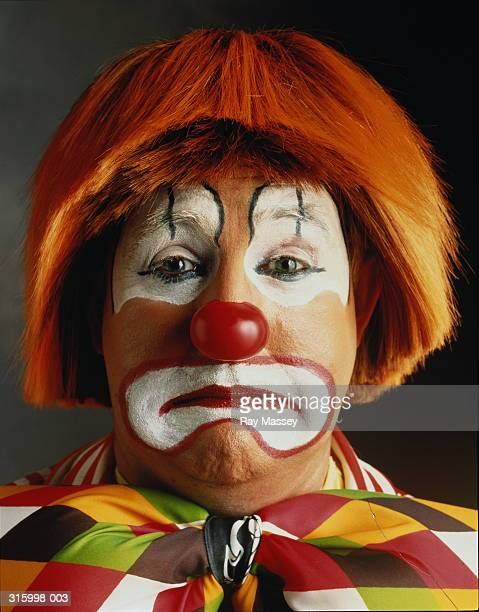 portrait of clown looking sad, close-up of head - sad clown stock photos and pictures