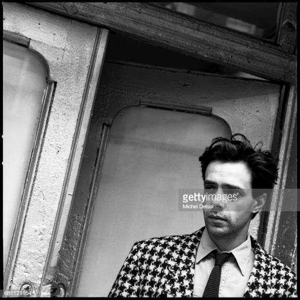 Portrait of Colin de Land art dealer in front of his gallery Vox Populi in the East Village New York City New York November 25 1986