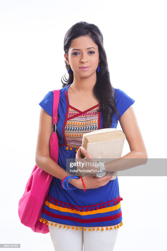 Portrait of college girl with book : Stock Photo