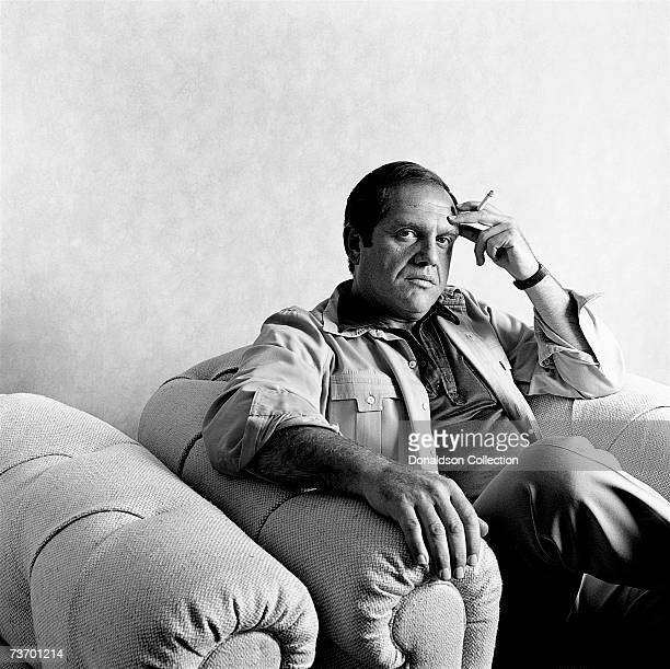 Portrait of comedian Alan King as he relaxes in his office in New York City in 1974
