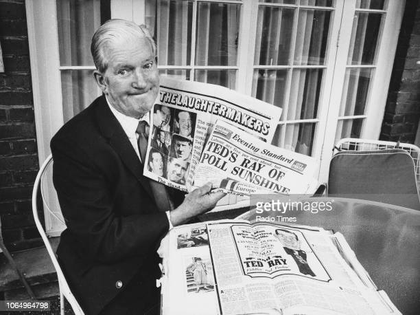 Portrait of comedian Ted Ray with his own press clippings May 14th 1973