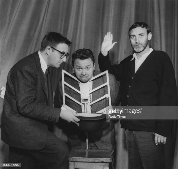 Portrait of comedians Peter Sellers Harry Secombe and Spike Milligan photographed for Radio Times in connection with the BBC Radio series 'The Goon...