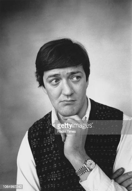 Portrait of comic actor Stephen Fry, January 1989.