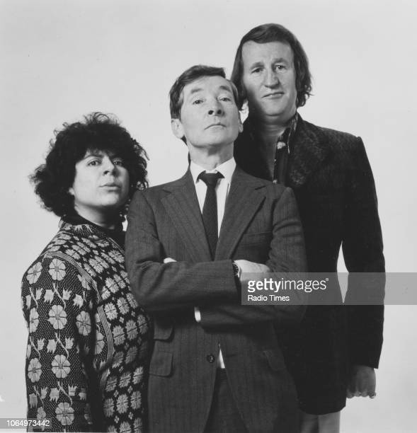 Portrait of comic actors Miriam Margolyes Kenneth Williams and Lance Percival photographed for Radio Times in connection with the BBC Radio series...