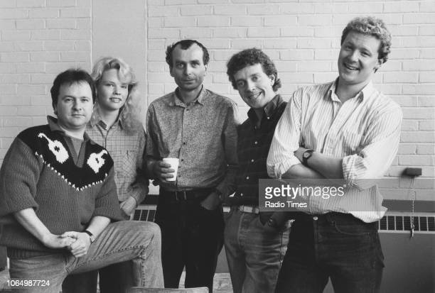 Portrait of comic actors Steve Steen, Sara Crowe, John Dowie, Jim Sweeney and Rory Bremner, photographed for Radio Times in connection with the...