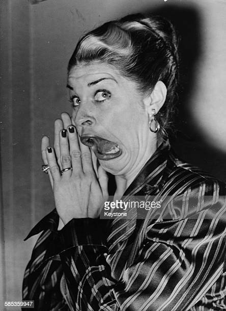 Portrait of comic actress Martha Raye mugging for the camera March 31st 1948