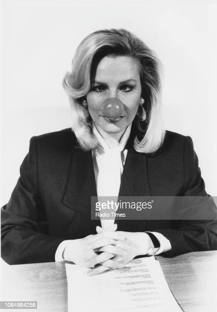 Portrait of comic actress Pamela Stephenson wearing a false red nose photographed for Radio Times in connection with the fund raising television...