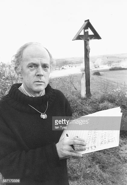 Portrait of composer Malcolm Williamson, Master of the Queen's Music, working on the Silver Jubilee hymn, in the secluded surroundings of the...