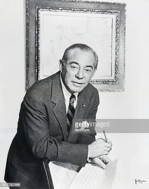 Portrait of composer Richard Rodgers having just completed a score for a new musical No Strings