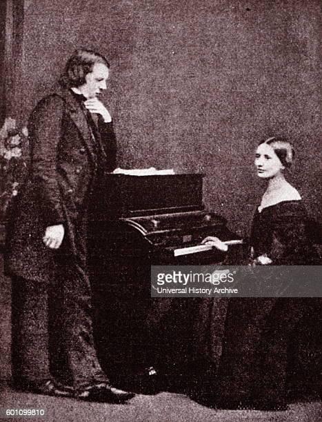 Portrait of composer Robert Schumann and his wife, musician, Clara Schumann . Dated 19th Century.