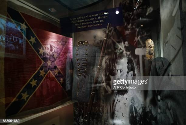 A portrait of Confederate general Thomas Jonathan Stonewall Jackson is seen at an exhibit on the Civil War at the The National Museum of American...