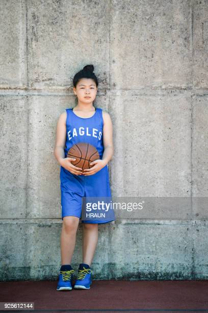 Portrait of confident basketball player with ball