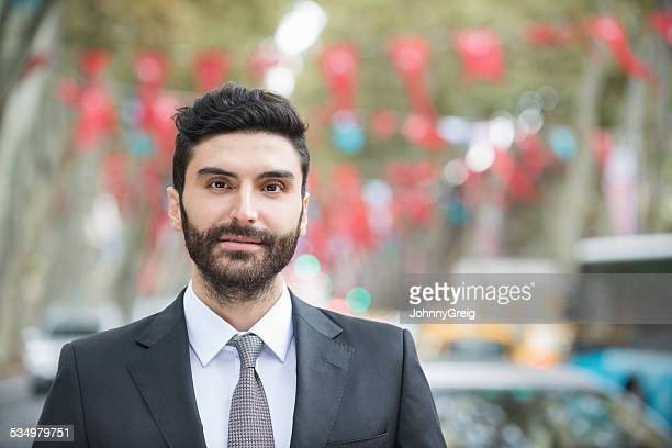 Portrait Of Confident Businessman On City Street At Istanbul