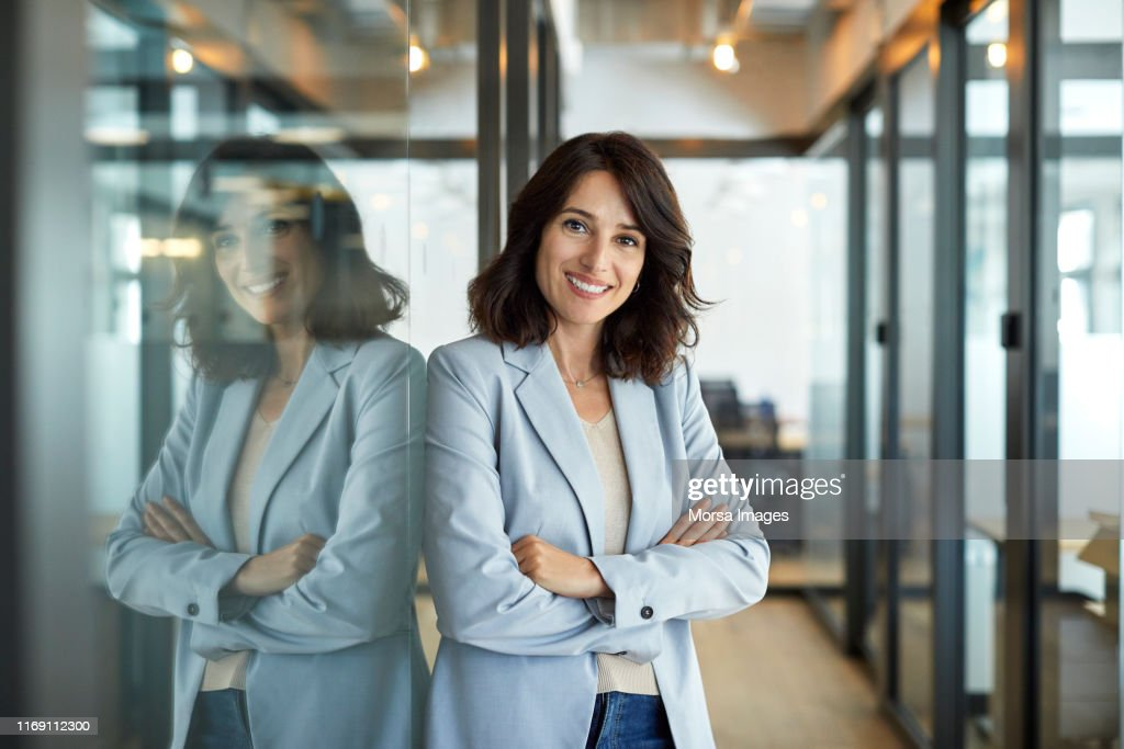 Portrait of confident businesswoman in office : Foto de stock