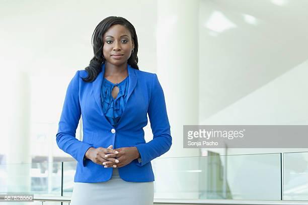 portrait of confident businesswoman - blue suit stock pictures, royalty-free photos & images