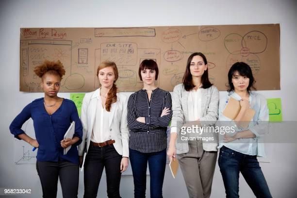 Portrait of confident businesswomen standing in creative office
