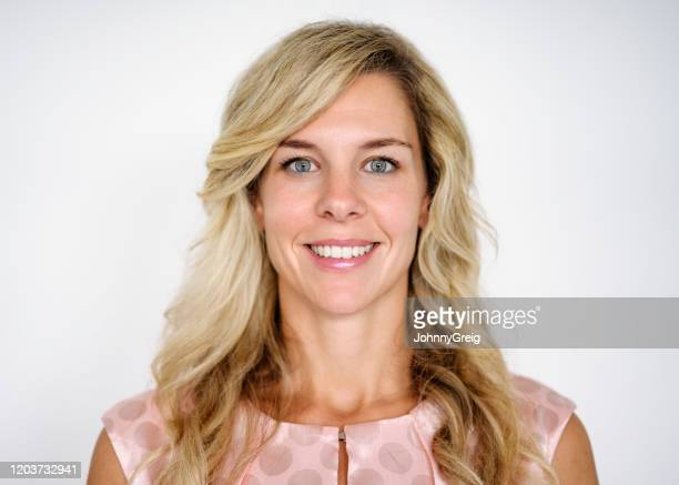 portrait of confident caucasian businesswoman in early 30s - grey eyes stock pictures, royalty-free photos & images