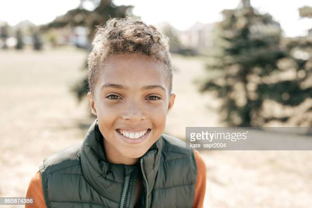 portrait of confident child - 13 year old black girl stock photos and pictures