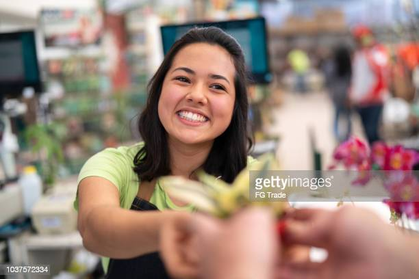 portrait of confident employee checkout giving a flower at flower market - cashier stock pictures, royalty-free photos & images