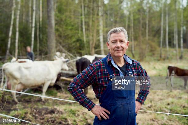 portrait of confident farmer standing on field - produtor - fotografias e filmes do acervo