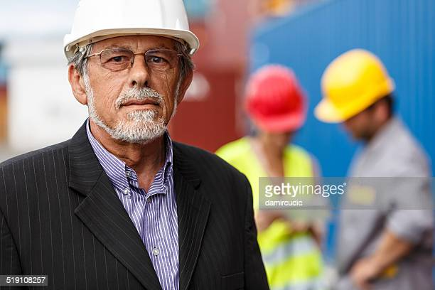 Portrait of confident manager at commercial dock