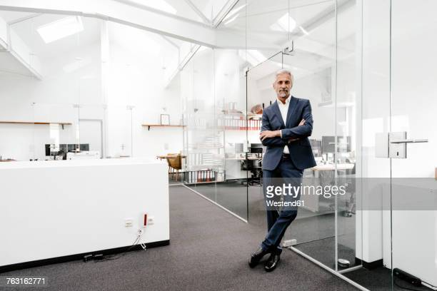 portrait of confident mature businessman in office - cadrage en pied photos et images de collection