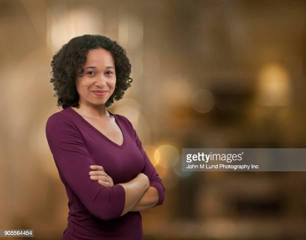 Portrait of confident mixed race woman