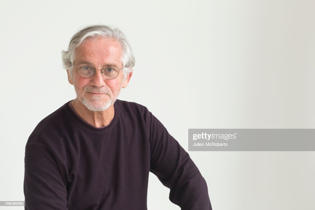 Portrait of confident older Caucasian man : Stock Photo