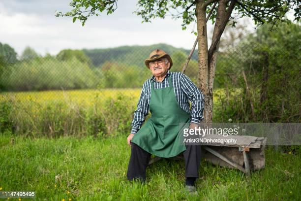 portret van vertrouwen senior boer in de tuin. - bulgarije stockfoto's en -beelden