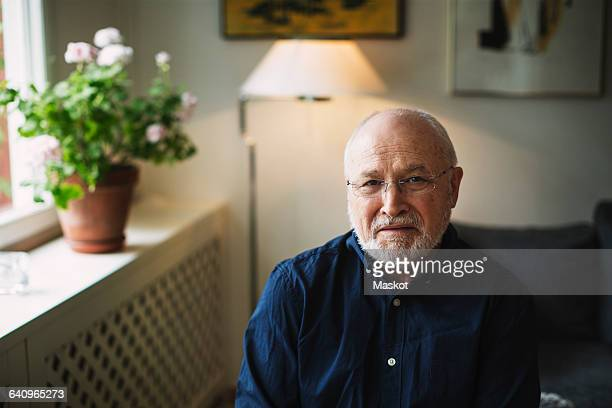 Portrait of confident senior man sitting at home