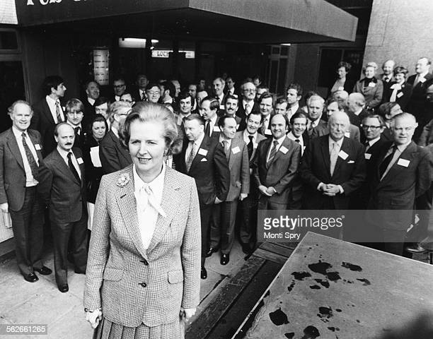 Portrait of Conservative Party leader Margaret Thatcher with a group of Tory candidates for the European Parliament London February 24th 1979