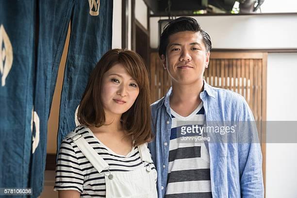 portrait of contented japanese mid adult couple - 中年カップル ストックフォトと画像