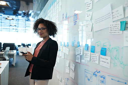 Portrait of cool businesswoman holding smartphone - gettyimageskorea