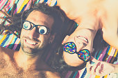 Portrait of cool couple enjoying the sun