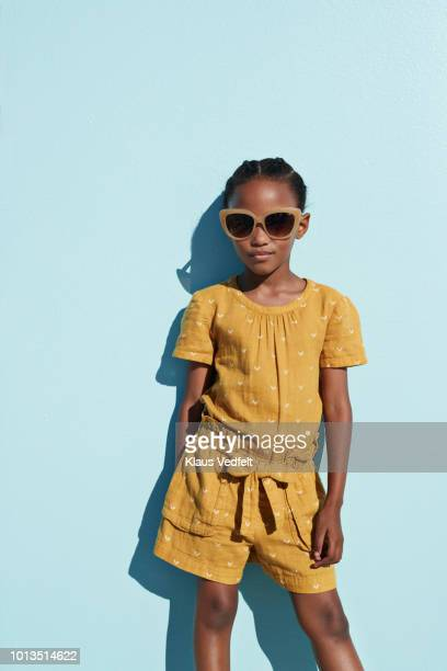 portrait of cool girl with sunglasses - little girls with no clothes on stock photos and pictures