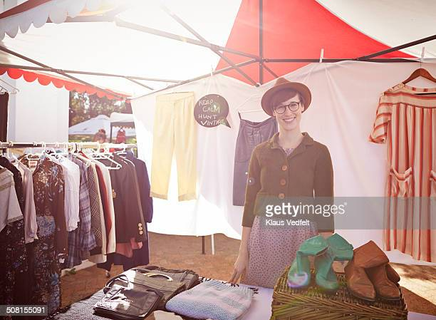 portrait of cool looking vintage shop owner - market stall stock pictures, royalty-free photos & images